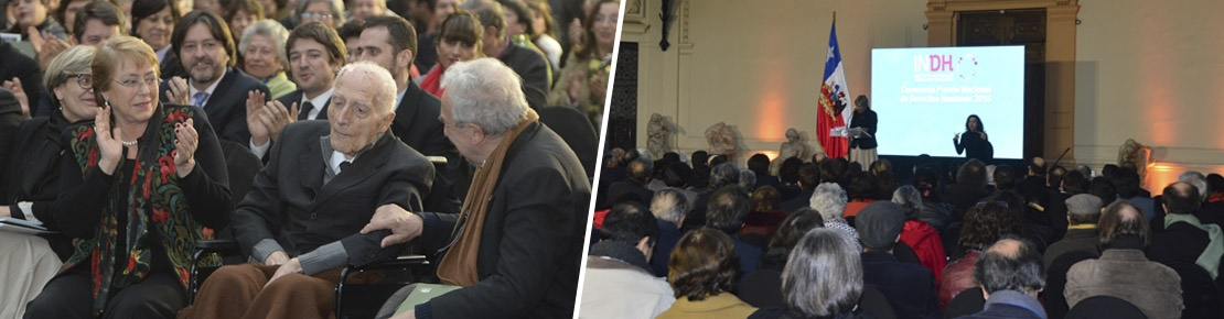 José Aldunate SJ recibió el Premio Nacional de Derechos Humanos 2016