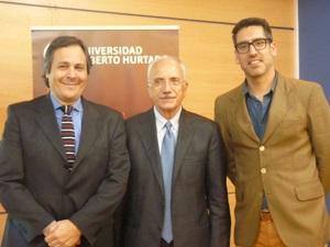 Fabián Pressacco, director  de Postgrados y Educación Continua, Leonardo Morlino e Ignacio Cienfuegos, Director del Departamento de Ciencia Política y Relaciones Internacionales.