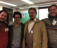 En la imagen: de izquierda a derecha: Zachary Hugo (UAH), Rodrigo Sandoval (UAH), Dr. Luis Rabanaque (Coordinador general del VII Coloquio) y Daniel Pantoja (UAH).